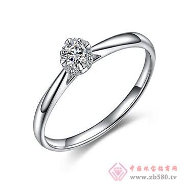 一后钻石白18K金钻石女戒0.12ct