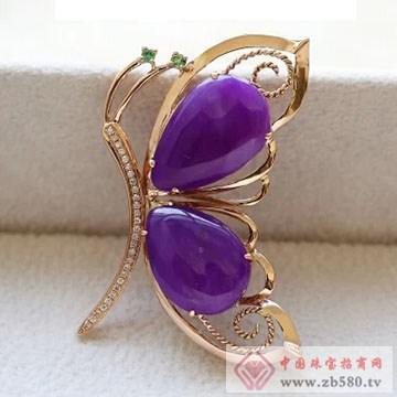 柏豪珠宝-紫红宝石胸针