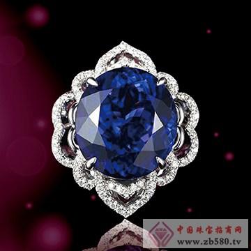 兄弟美-18K金镶嵌宝石蓝戒指01