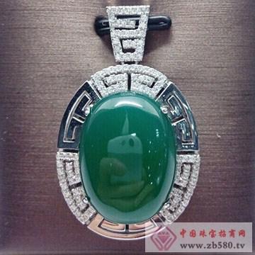 玖钻珠宝-银镶翡翠吊坠03