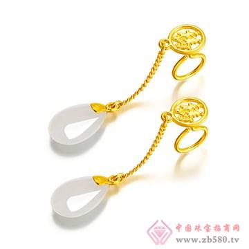 禧六福珠宝-金镶玉耳坠