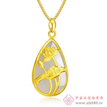 禧六福珠宝-金镶玉吊坠02