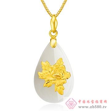 禧六福珠宝-金镶玉吊坠03