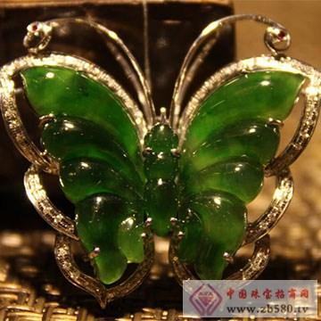 雪湖狼树化玉珠宝金镶钻冰种老坑绿