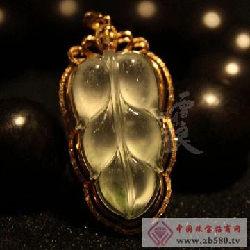 雪湖狼树化玉珠宝金镶钻高冰种无色