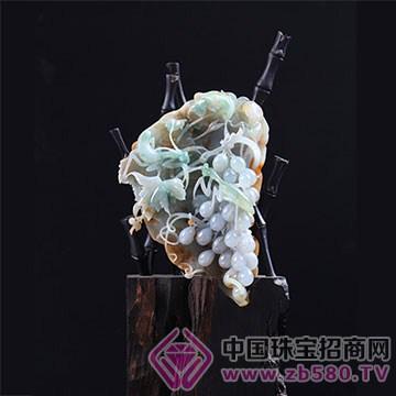 玉祥源-翡翠摆件螳螂葡萄