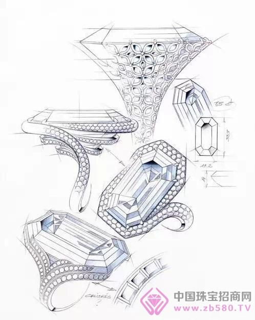 珠宝设计草图 绝美的细节图
