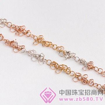 旭麟珠宝-18K彩金环环相扣项链