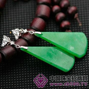 旭麟珠宝-老坑翠绿如意扇形耳坠