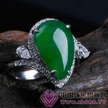 旭麟珠宝-老坑满绿水滴戒面