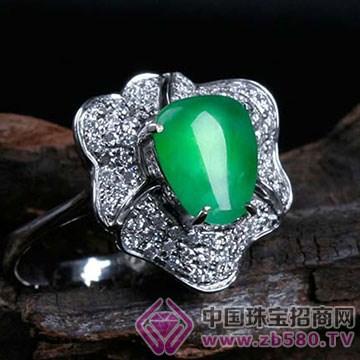 旭麟珠宝-老坑满绿随形莹光戒面
