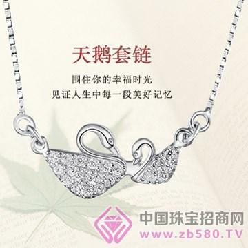 晶银凤凰——天鹅套链银戒指