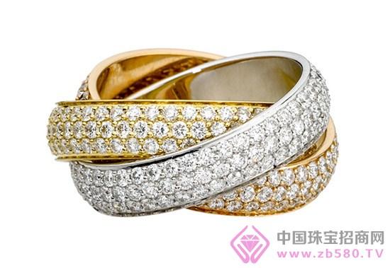 卡地亚三色金,钻石情侣对戒