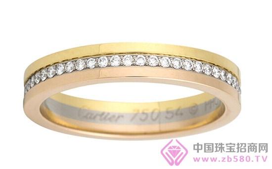 卡地亚18K三色金,镶嵌钻石情侣戒指