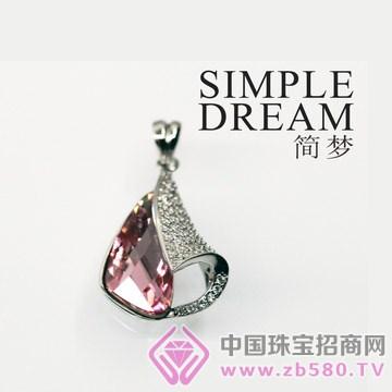 简梦饰品-镶宝石银坠08