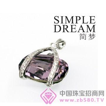 简梦饰品-镶宝石银坠09