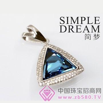 简梦饰品-镶宝石银坠10