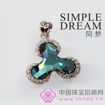 简梦饰品-镶宝石银坠11