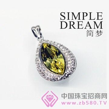 简梦饰品-镶宝石银坠12