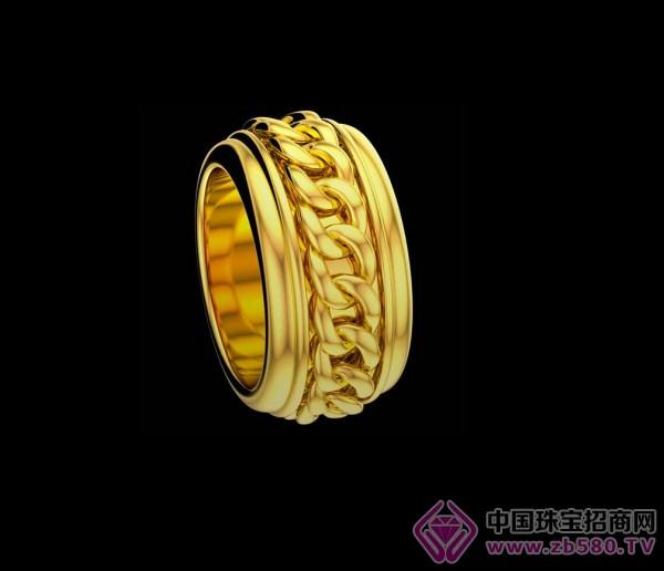 旋转链条划出爱的风景线    possession链条图案黄金戒指      这