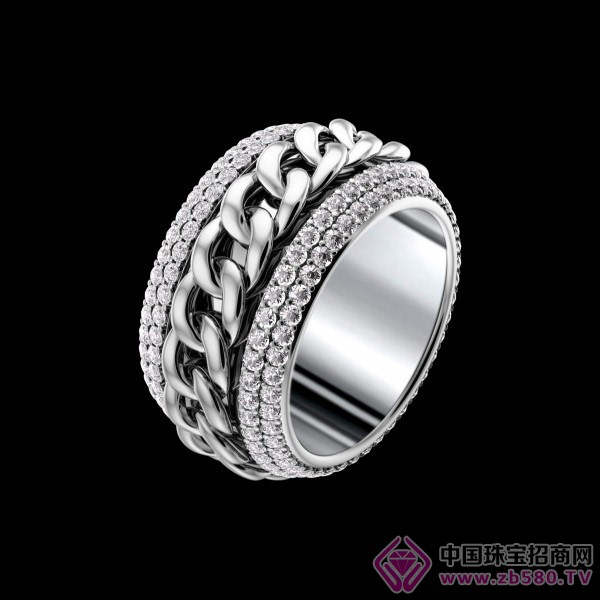 possession链条图案白金戒指