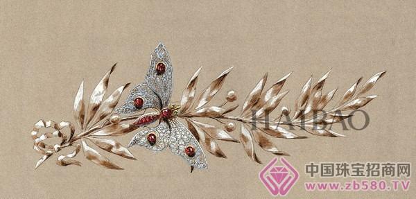 月桂枝_1885年chaumet历史手稿:蝴蝶月桂枝胸针图稿