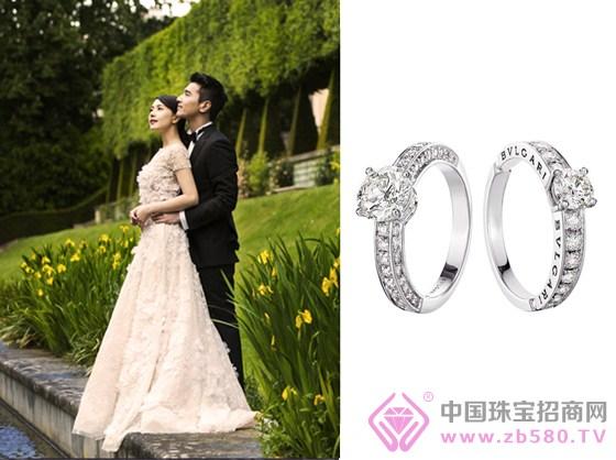 左侧:高圆圆,赵又廷婚纱照;右侧:宝格丽(bulgari)bridal婚戒系列1503