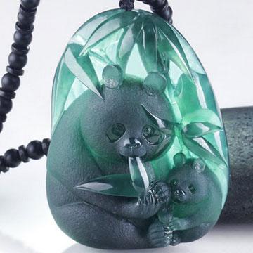翡翠纪-天然冰种墨翠熊猫吊坠