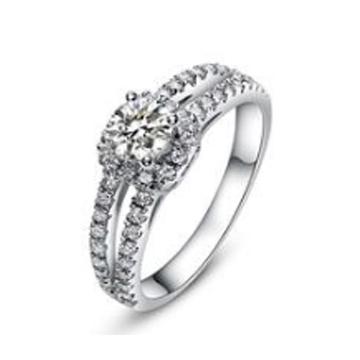 金世爱-超大钻石镶钻纯银戒指