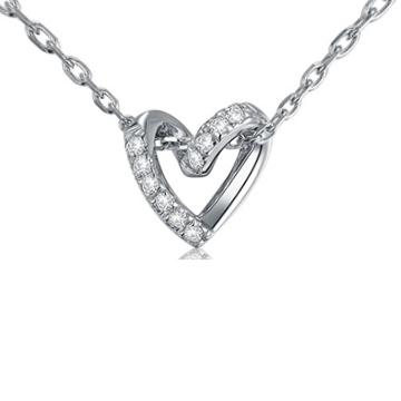 嘉尼银饰-心形镶钻银饰吊坠