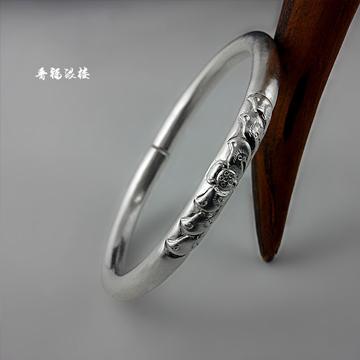 晋福银楼-999纯银纯手工手镯-情侣