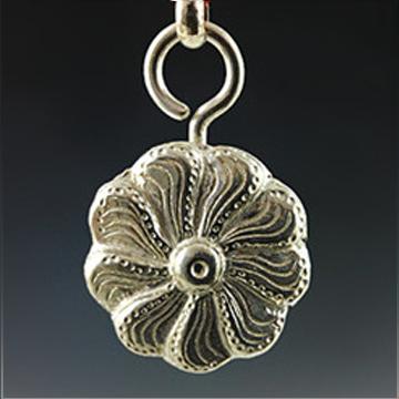 晋福银楼-纯银铃铛银锁项链长命锁