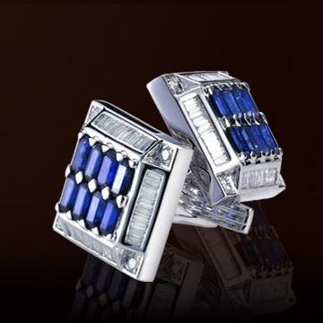 伊势珠宝-蓝宝石袖口钮扣