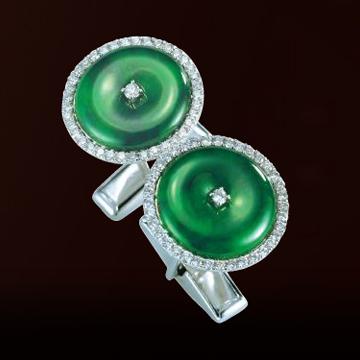 伊势珠宝-绿翡翠袖口钮扣