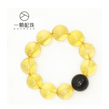 一颗配珠智能黄水晶手串