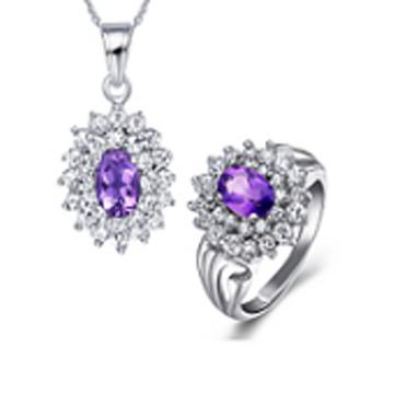 东升珠宝-镶嵌钻石水晶吊坠耳饰