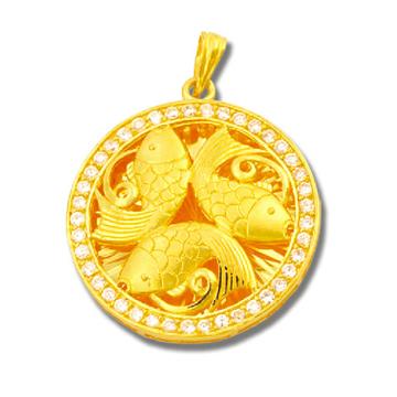 东升珠宝-鲤鱼纹理黄金吊坠