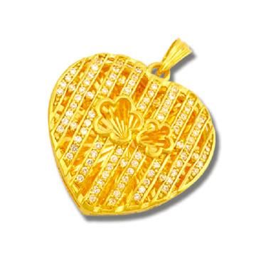 东升珠宝-心形镶嵌黄金吊坠