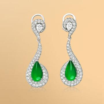 景福珠宝18K金翡翠鑽石耳環