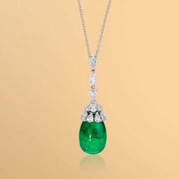 景福珠宝18K金綠寶石鑽石吊墜