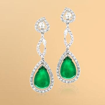 景福珠宝18K金綠寶石鑽石耳環