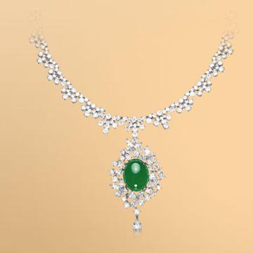 景福珠宝18K金天然翡翠鑽石吊墜及