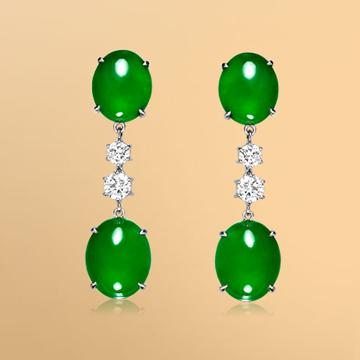 景福珠宝18K金天然翡翠鑽石耳環