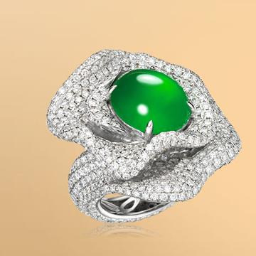景福珠宝18K金天然翡翠鑽石戒指