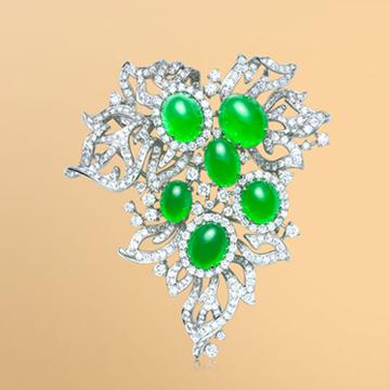 景福珠宝18K金天然翡翠鑽石衫針
