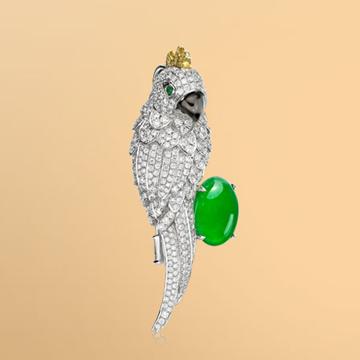 景福珠宝18K金鹦鹉鑽石衫針