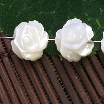 艾宝饰品-白贝玫瑰贝壳花散珠