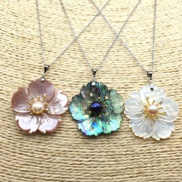 艾宝饰品-三色贝壳花搭配淡水珍珠