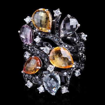 瑷美珠宝-华丽宝石镶嵌戒指