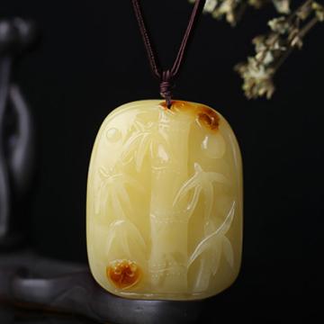 恒��琥珀��高青帝升天然蜜�雕刻件��